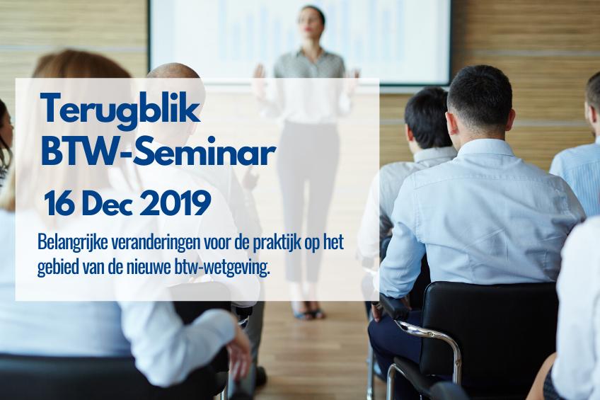 terugblik BTW-Seminar 2019